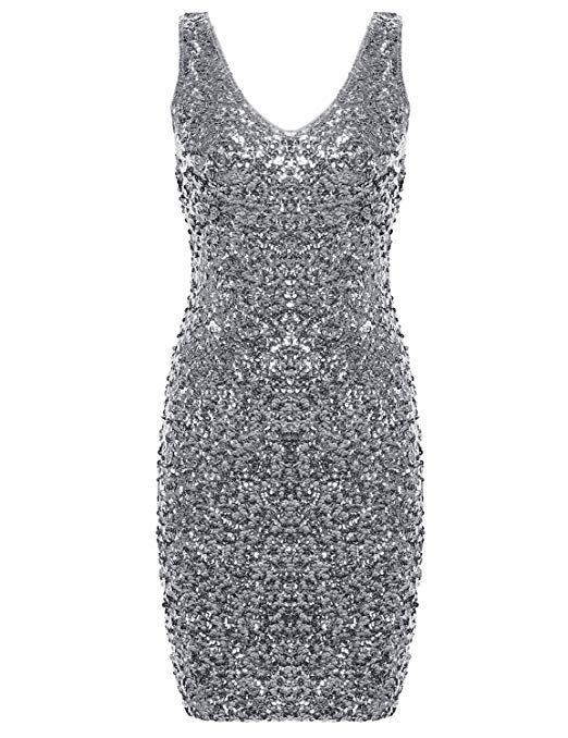Amazon.com  PrettyGuide Women s Sexy Deep V Neck Sequin Glitter Bodycon  Stretchy Mini Party Dress  Clothing. Silver b87e0fa84