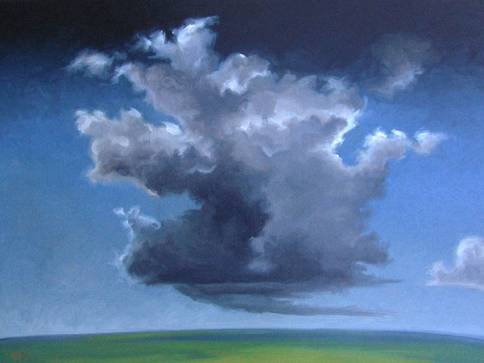 """""""Meadow"""" by Jerry Moon Fine Art-Oil-Landscape-Painting-Kansas City, Missouri-Midwest-Clouds-Sunny-Blue-Green-Serene"""