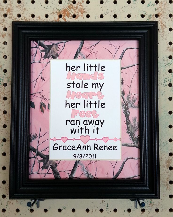 Personalized 5x7 Glossy Print Her Little Hands Matted to 8x10 Realtree Theme AP Pink Camo Baby Girl Shower Nursery Newborn Infant Gift Decor by BluffViewDesign on Etsy https://www.etsy.com/listing/179889763/personalized-5x7-glossy-print-her-little