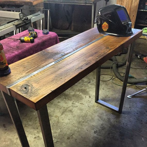 Reclaimed wood table, sofa table, hall table,industrial table,wood and steel hall table, Media stand