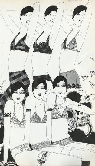 Illustration by Caroline Smith, March 1972, for Vogue UK.