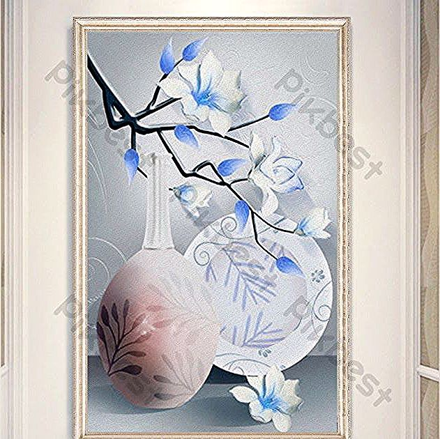 24 Lukisan Corak Pasu Bunga Modern Oil