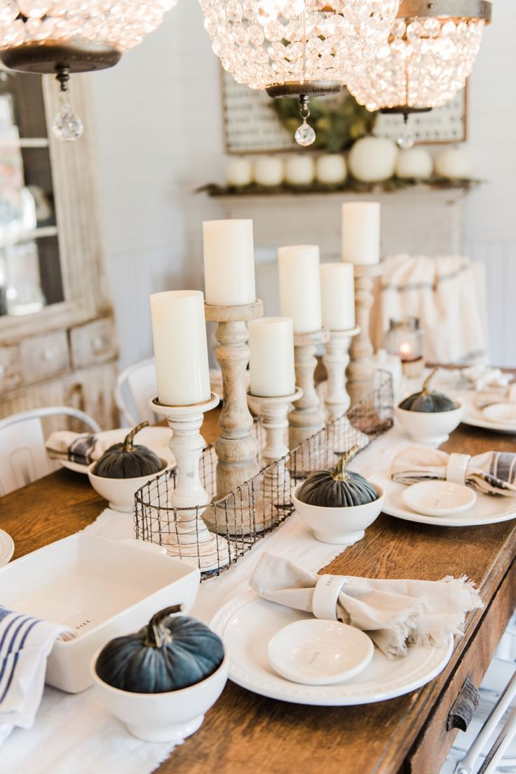 Dining table candle centerpieces - Simple Neutral Fall Farmhouse Dining Room