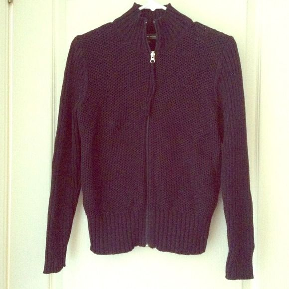 Black zip up sweater As seen in perfect condition black zip up ,not a heavy bulky feeling Jeanne Pierre Sweaters