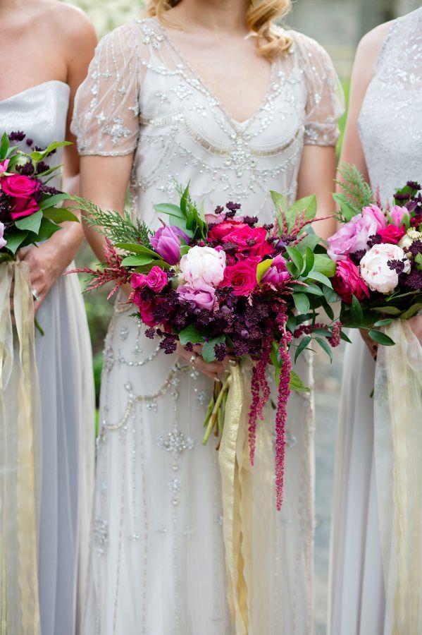 Vintage glam jewel-toned bouquets: http://www.stylemepretty.com/pennsylvania-weddings/bryn-athyn/2015/09/02/elegant-gatsby-wedding-inspiration-at-cairnwood-estate/ | Photography: Ashley Bartoletti - http://www.ashleybartoletti.com/