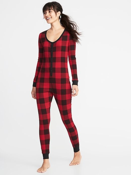 8ae8ce7ae890 Patterned Thermal-Knit One-Piece PJs for Women in 2019
