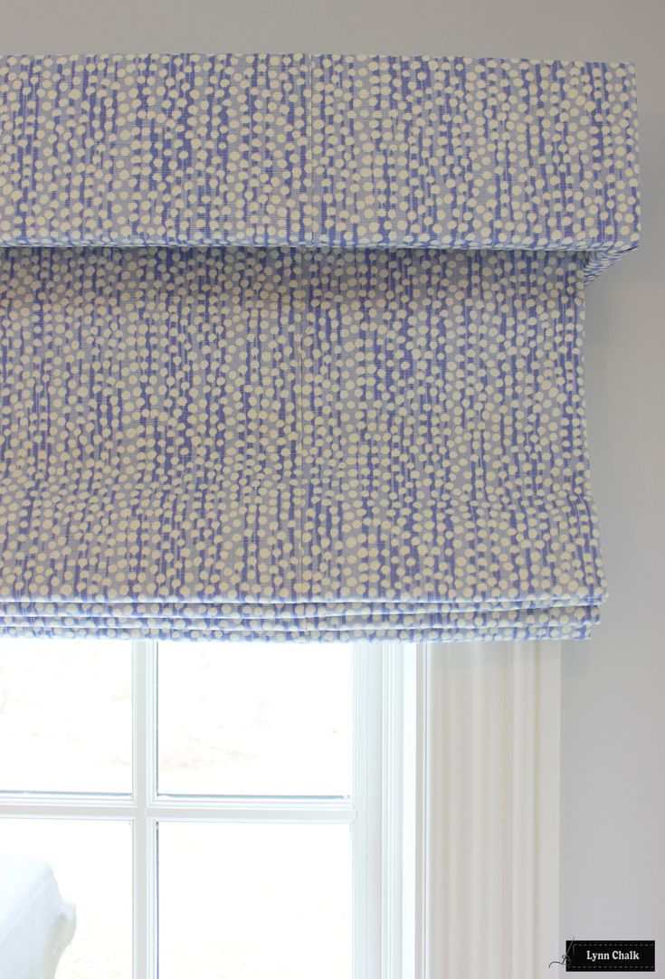 Contemporary roman shade in schumacher imperial trellis fabric by - Custom Roman Shades With Separate Box Valance In Mojave Periwinkle On Tint Comes In Other