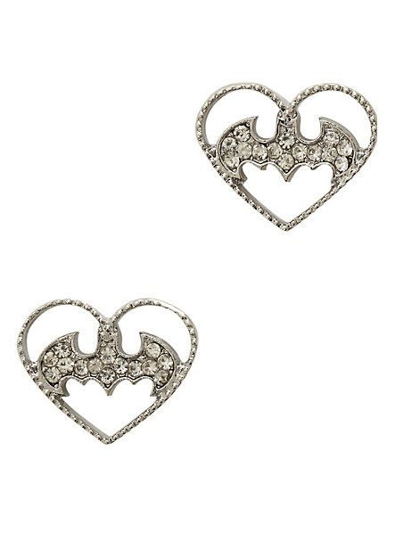 DC Comics Batman Heart Bling Earrings | Hot Topic