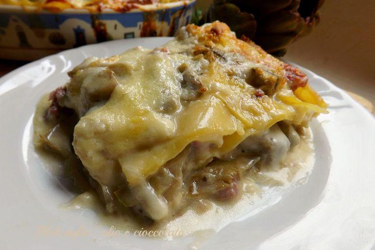Come poteva mancare la Lasagna con i Carciofi!!! Credetemi,è uno spettacolo di bontà!! Rimane molto delicata e saporita.