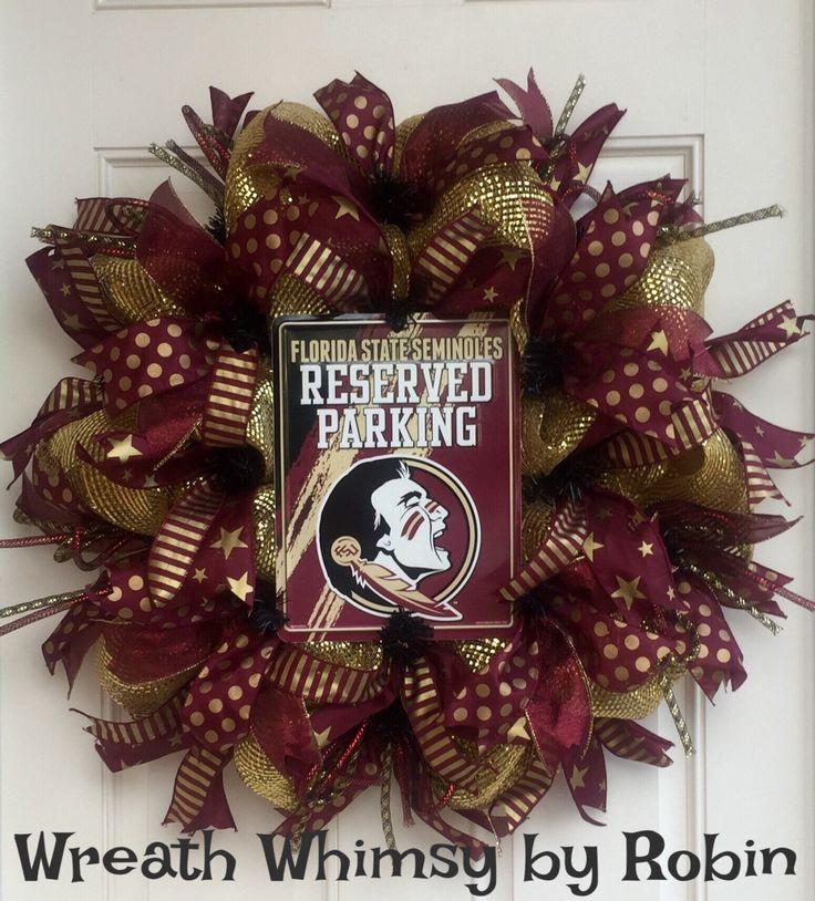 Florida State University Seminoles Garnet and Gold Deco Mesh Sports Wreath, Football Wreath, FSU Decor, Collegiate Wreath by WreathWhimsybyRobin on Etsy