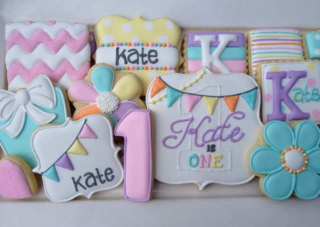 Happy Birthday Cookies~                   by JJ Spencer, via Flickr, number, pink, teal, Orange, yellow, monogram, white bow, plaque, striped, bunting, flower