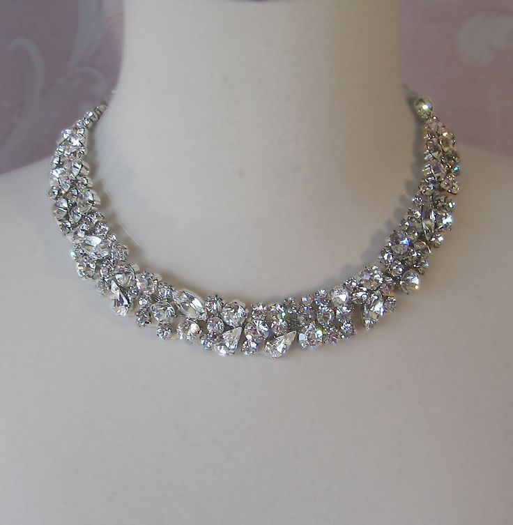 Rhinestone Necklace, Bridal Choker, Wedding Nacklace, Crystal Rhinestone Necklace - CHARLOTTE. $80.00, via Etsy.