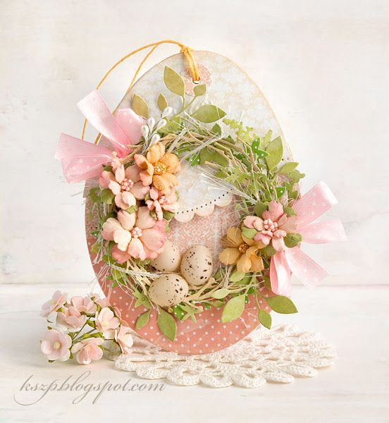 """Kartka-pisanka............good use for all of those little """"natural egg"""" die cuts???"""