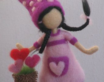 """The garderner of love, Happy Valentine's Day, needle felted way to say: """"I love you"""", Waldorf inspired"""