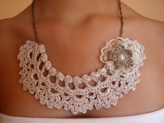Choker necklace with flower and silver lace in by DIDIcrochet, €15.00