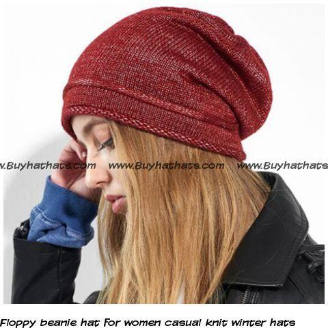 Floppy beanie hat for women casual knit winter hats Girl Beanie b641059ad66