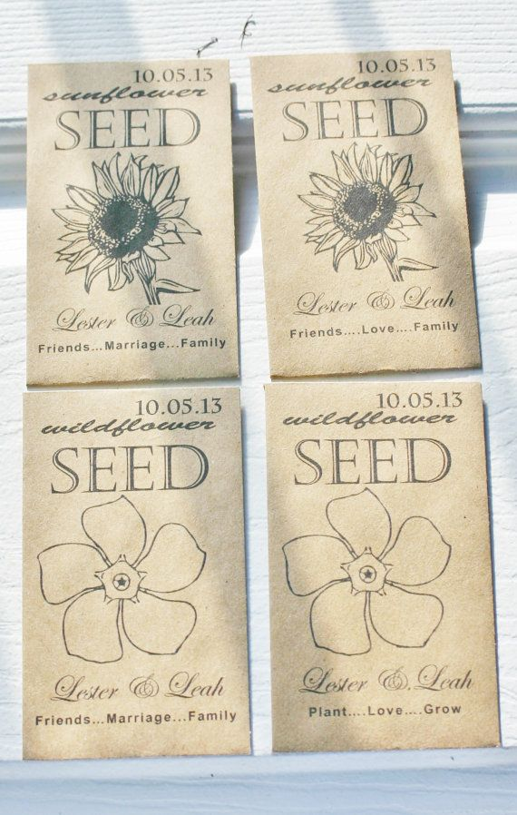 Wedding Kraft Paper Brown Seed Packet Favors Customized and Personalized  Envelopes 1- 4 sets