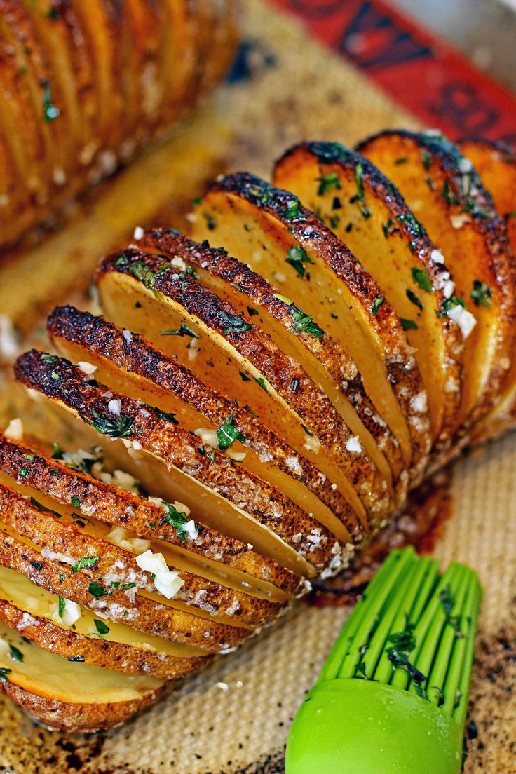 The seasoned Hasselback potato turns out crispy on the outside and tender on the inside. Almost like thick potato chips, but all still connected at the base