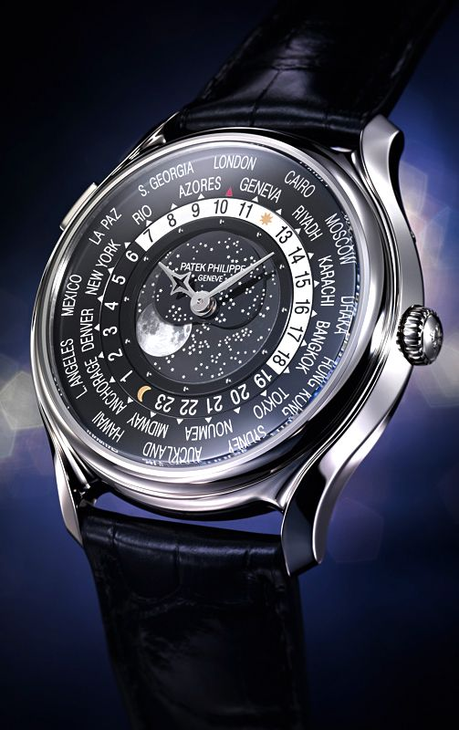 "Patek Philippe World Time Moon Limited Edition Watch - see Ariel's write-up over at Centurion Magazine ""As part of the 175th Anniversary celebration for the conservative Swiss watch company Patek Philippe Geneve, a new series... Among the more accessible new anniversary models, a new version of the classic World Timer with a moon phase indicator takes the spotlight..."" then see more Patek watches we've covered: http://www.ablogtowatch.com/watch-brands/patek-philippe/"
