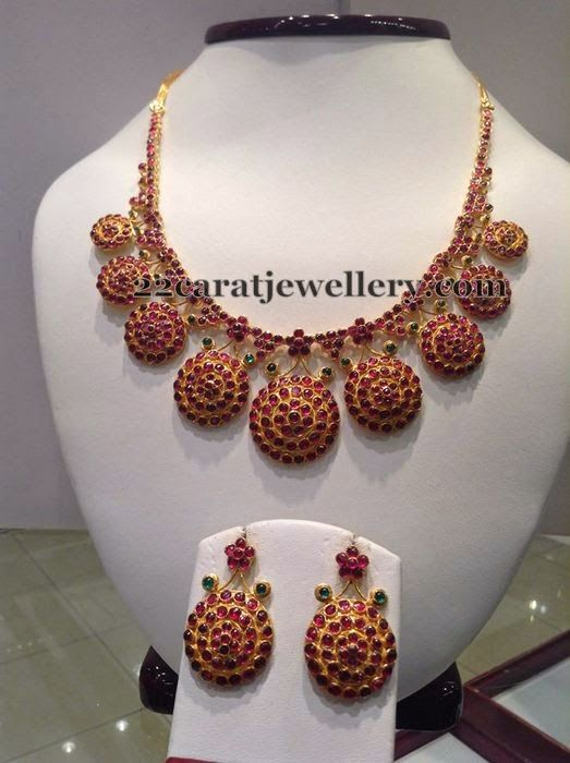 Jewellery Designs: Floral Motifs Ruby Necklace