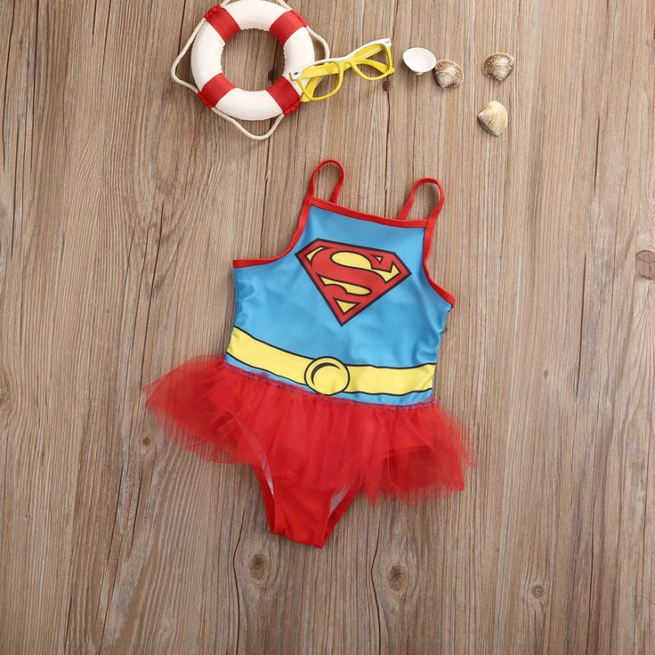 Summer Cute Kids Sleeveless Lace Superman Swim Bathing Suit Girls Tutu Skirts Swimsuit One-piecs Swimwear