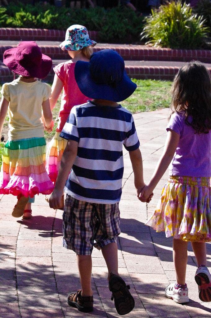 Kindergarten students on their morning walk around the grounds at Orana Steiner School in Canberra, Australia