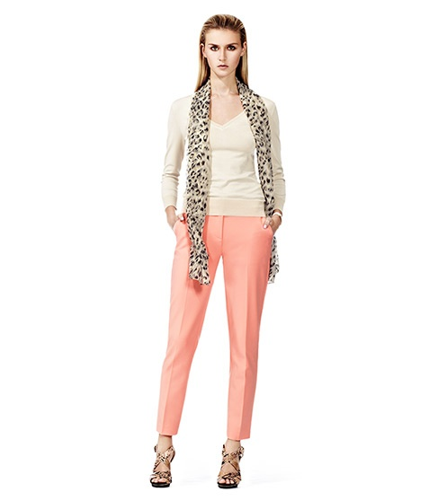 These tapered cigarette trousers from Reiss come in peach, dusky blue or stone.. beautiful in all three colours but the peach is my favourite.