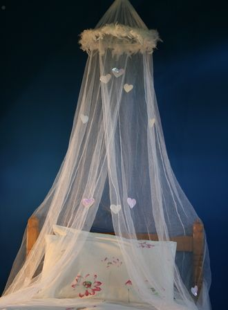 Give a dull bedroom an instant facelift!  Little girls (and big girls alike) adore these canopies.  This beauty has a feather trim and handmade sequin hearts.     This will fit a cot, single or king single sized bed.    Product dimensions: 40cm x 230cm x 650cm