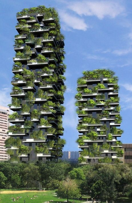 Bosco Verticale towers filled with trees in Milan  Winning the International Highrise Award award, these forested towers, designed by Stefano Boeri, were cited as a powerful example of the symbiosis possible between architecture and nature—representative of a great possibility for new developments in high-density areas.