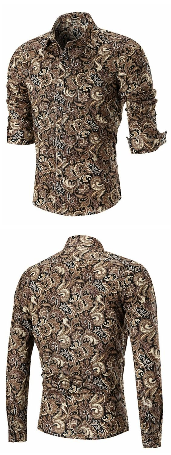 Button Paisley Print Long Sleeve Shirt
