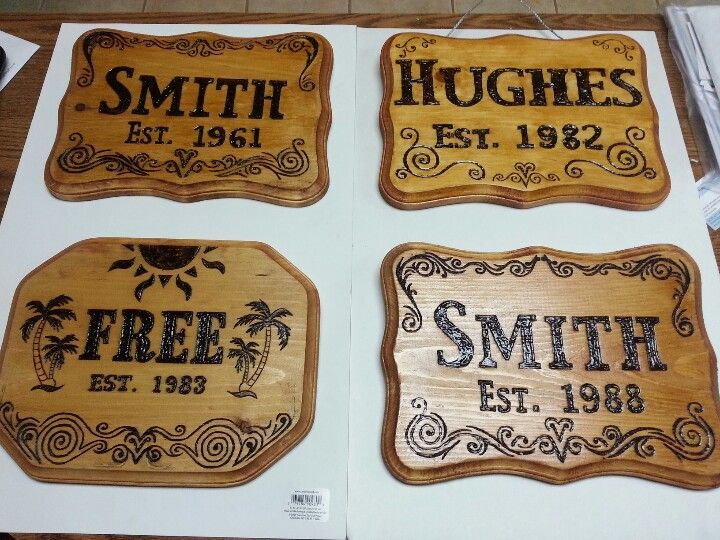 Family Wood Burned Signs   First four wood burning signs I made.