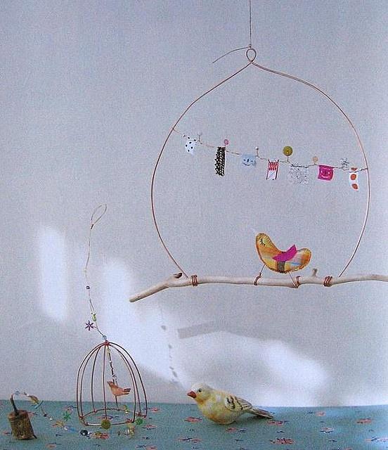 mini bunting and bird house ... sweet ...