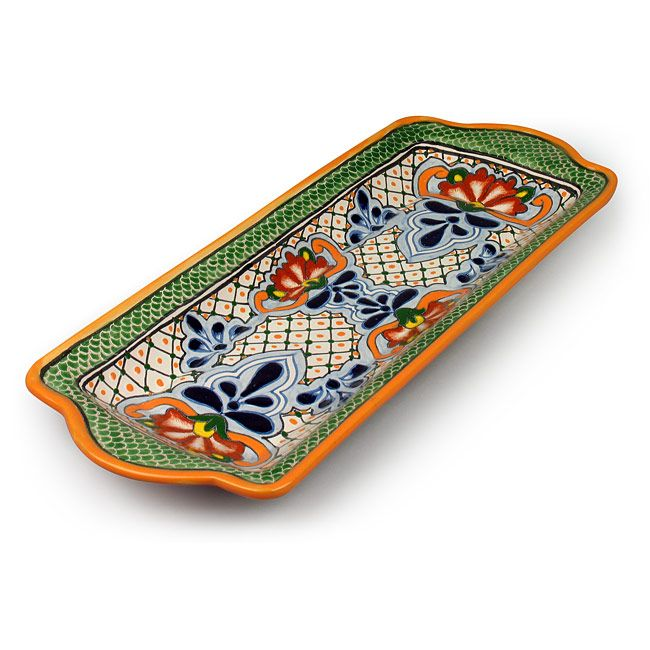 "Talavera pottery green scale serving tray. This colorful and functional Mexican serving tray is a great way to add a touch of Mexico to your table. 17"" w x 6.75"" w x 1.5"" h"