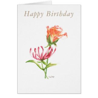 Blank birthday card June birth flowers