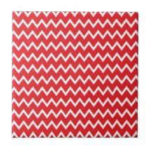 Red and White Chevron Pattern Small Square Tile | Zazzle
