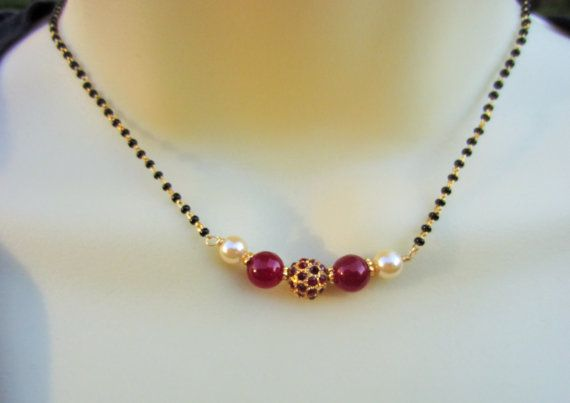 Red Stone Studded Mangalsutra, Red Beads Mangalsutra, Indian Jewelry, Wedding Chain, Black Beads Chain