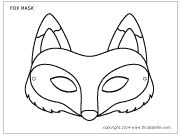 Fox mask coloring sheet