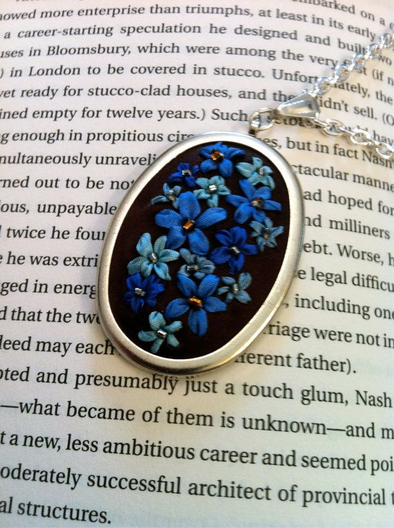 Blue and Turquoise Beaded Flower Pendant - Silk Ribbon Embroidery by BeanTown Embroidery