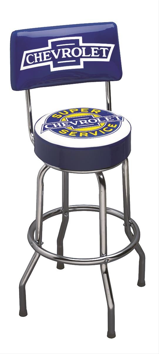"Super Chevy Service Stool W/Back:  These nostalgic bar stools will take you back to the ""old parts counter days"" when you could actually pull up a stool, sit down, and shoot the breeze about the best approach to repairing your car! You just can't sit on one of these stools without reminiscing about days gone by and swapping stories about the musclecar you owned, or, worse yet, the one that got away! These bar stools' heavy chrome plated legs are a 1950s era design with a large 4 in. thick…"