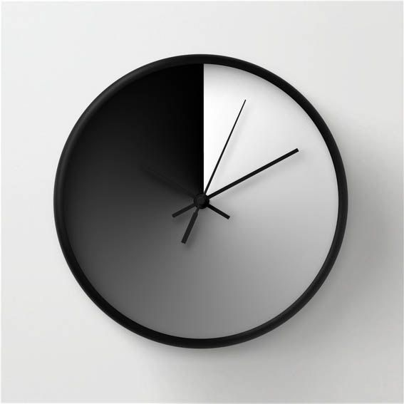 modern wall clock midday and midnight black and white design minimalist home decor - Modern Designer Wall Clocks