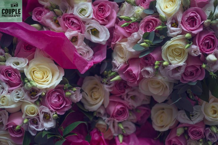 The bouquets with pinks and whites. Weddings at Clontarf Castle Hotel by Couple Photography.
