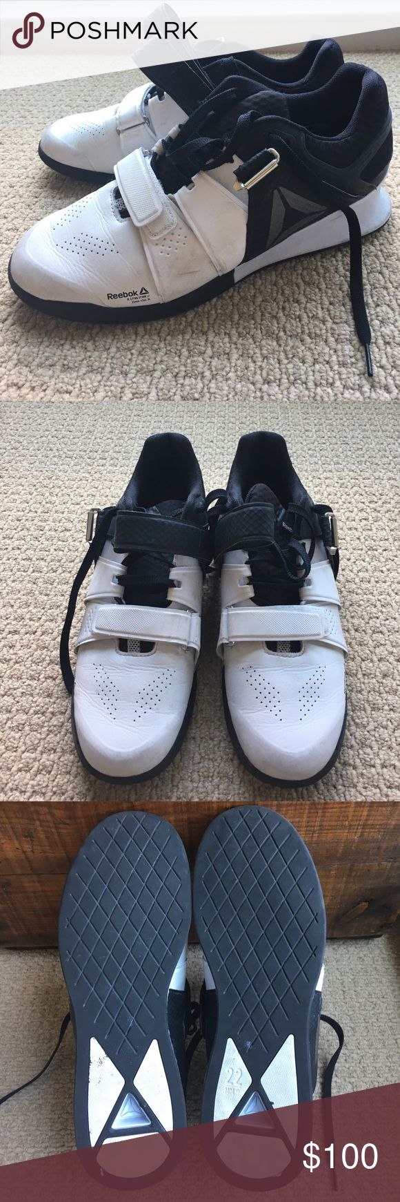 Mens 10.5 Reebok CrossFit/Powerlifting/Oly Lifters Excellent used condition. White with black details. Men's size 10.5 Reebok Legacy lifting shoes. Reebok Shoes Athletic Shoes