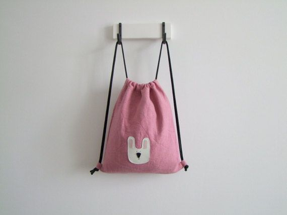 mini pink backpack for children rabbit pattern gym bag with