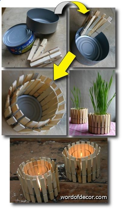 Mini planter or rustic candleholder – Made from a tuna tin clothes pins! Its so easy that it doesnt need any words to instruct you on how to build it.