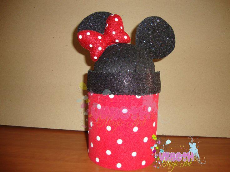 Tarrito de leche decorado tematica Minnie