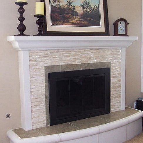 white glass tile fireplace surround