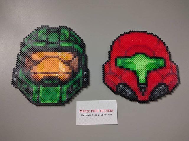Halo and Metroid helmets perler beads by manicmadegeekery