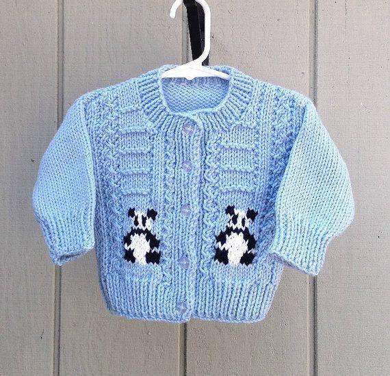 Baby knit cardigan, with panda bears, Kids cardigan, Baby shower gift
