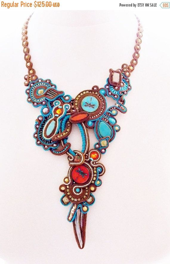 Soutache jewelry. Handmade Jewelry, soutache necklace, beaded jewelry, handmade…