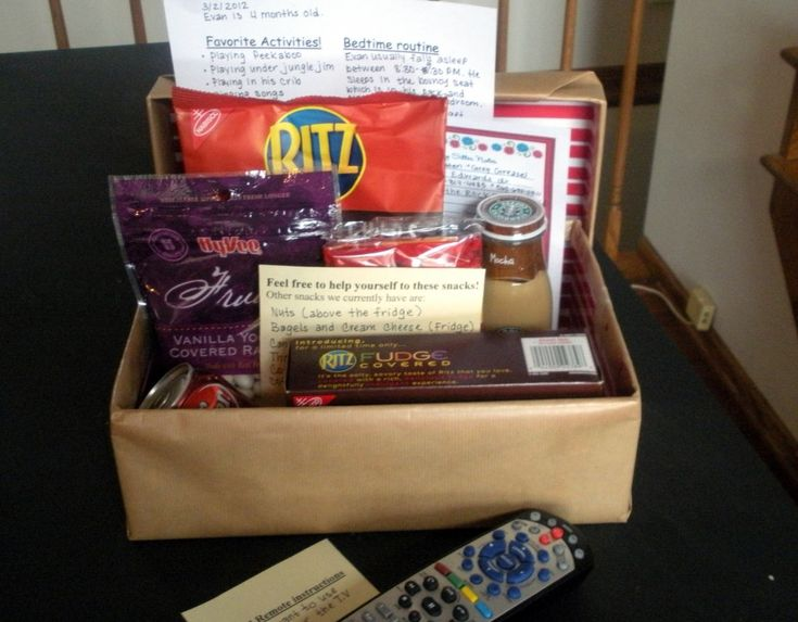 Babysitter box- this is kind of genius.  Anyone who babysits will have this waiting for them :)